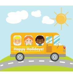 Happy holidays school bus vector