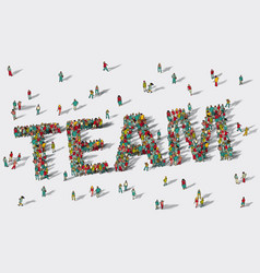 team work big group people vector image vector image