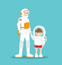 astronaut and kid on sky blue vector image