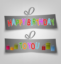 Birthday card with dark labels and gifts vector image vector image