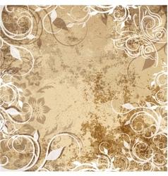 Floral pattern on grunge background vector image vector image