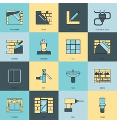Home repair icons flat line set vector image vector image