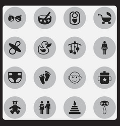 set of 16 editable icons includes symbols such a vector image vector image