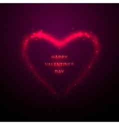 shine glow pink heart vector image vector image