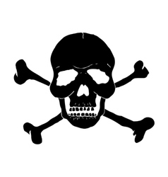Skull and bones of black on a white background vector image