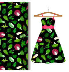 women dress fabric pattern with vegetables vector image