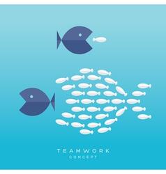 Big Fish Small Fish Teamwork Concept vector image vector image
