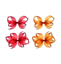 Set of Colored Orange Red Gift Bows on Background vector image vector image