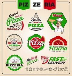 Set of pizzeria logo template design Pizza labels vector image vector image