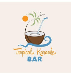 tropical karaoke bar design template vector image vector image