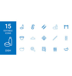 15 dish icons vector