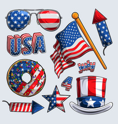4th july elements collection independence day vector image