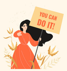 a girl with a motivating poster in her hand vector image