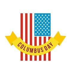 American flag with Columbus Day ribbon icon vector image