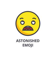 Astonished emoji line icon sign vector