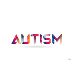 autism colored rainbow word text suitable for vector image