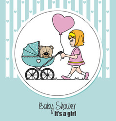 Baby girl walking in cart to her teddy bear vector