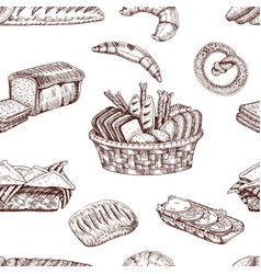 bakery hand drawn seamless pattern vector image