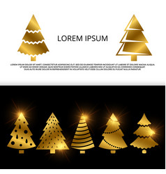 banner or flyer with golden christmas tree vector image