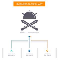 battle emblem viking warrior swords business flow vector image