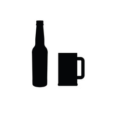 Beer bottle and mug of beer icon vector
