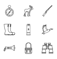 Bird hunting icons set outline style vector image