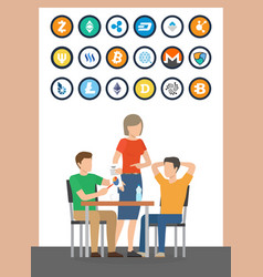 bitcoin and dogecoin currencies set icons vector image