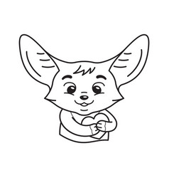 black and white cute enamoured fennec fox who vector image
