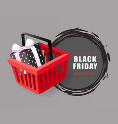 black friday price tag shopping cart and gift box vector image