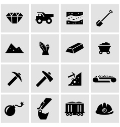 black mining icon set vector image