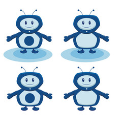 blue robot into a flat on a white background vector image