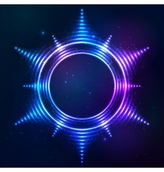 Bright shining blue neon sun frame at dark cosmic vector image