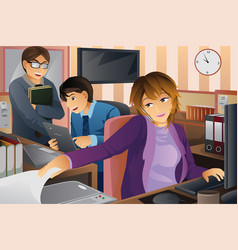 business people working at the office vector image