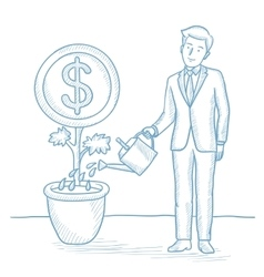 Businessman watering money flower vector