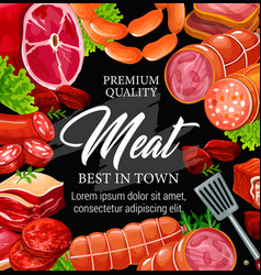 Butchery shop meat and sausage frame vector