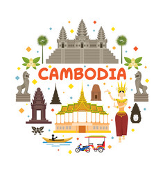 Cambodia travel attraction label vector