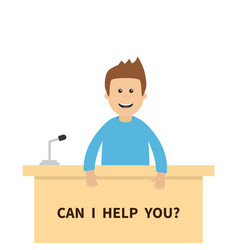 Can i help you men male people consultant table vector