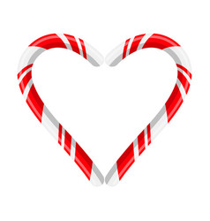 Candy cane heart for christmas design isolated on vector