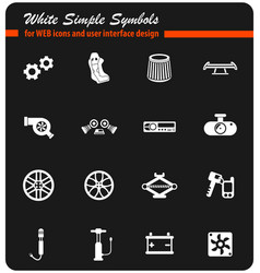 Car shop white icon set vector
