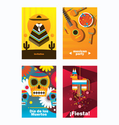 Cards with mexica elements vertical design vector