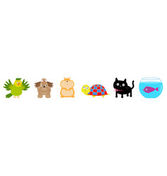 cat dog fish hamster parrot turtle pet line set vector image