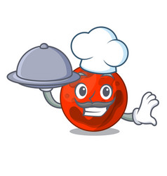 Chef with food mars planet mascot cartoon vector