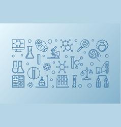 chemistry lab equipment outline horizontal vector image