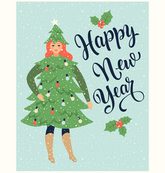 christmas card or poster with girl dressed like vector image