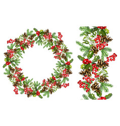 christmas holiday decorative wreath and seamless vector image