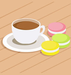 Coffee and three macaroons on table vector