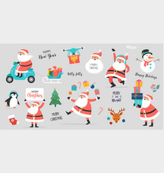 collection happy santa clauses dancing vector image