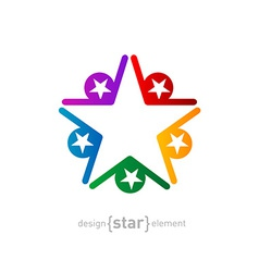 coloured star Abstract design element on white vector image