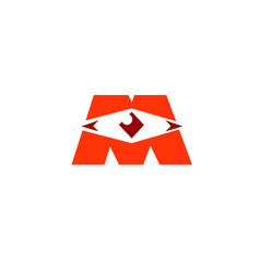 creative m letter eye master vision logo vector image
