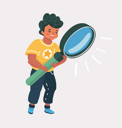 Cute boy holding looking through magnifying glass vector